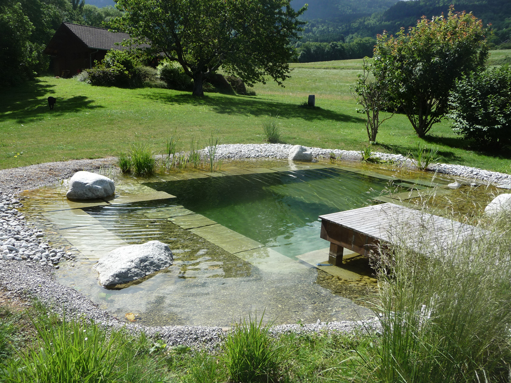Bassin avec r g n ration haute savoie piscine biologique paysagiste haute savoie 74 for Creation d un etang de jardin