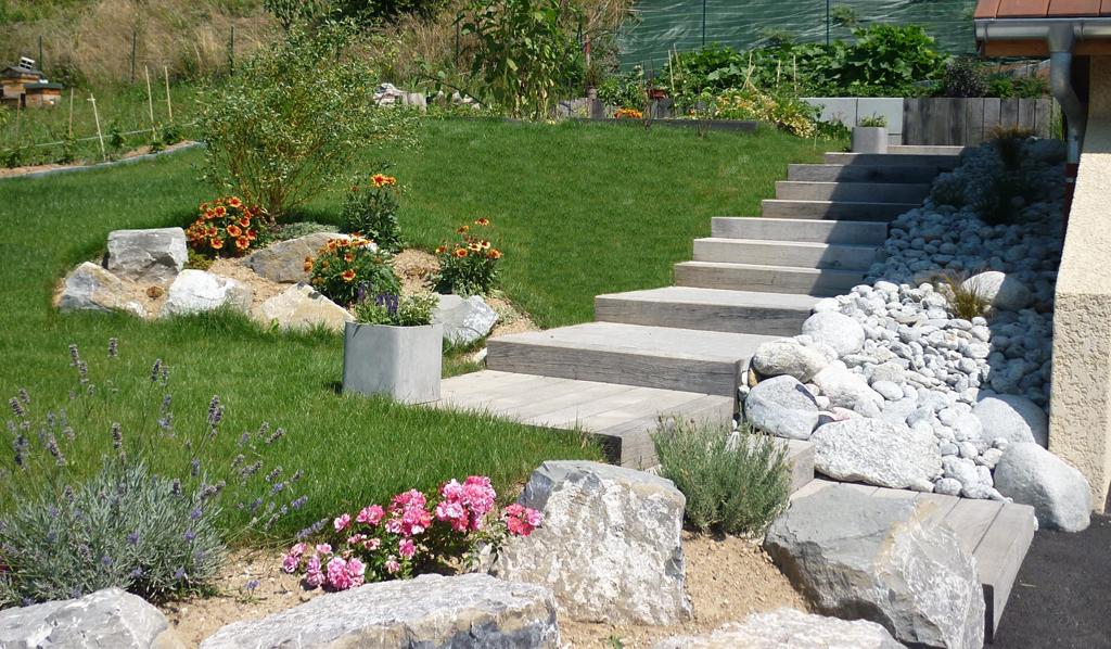 Paysagiste Thonon les Bains - escaliers traverses chêne | Paysagiste ...